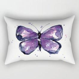 Purple Butterfly Watercolor Abstract Animal Art Rectangular Pillow