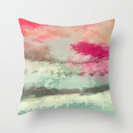 Pink kissed Ocean Throw Pillow