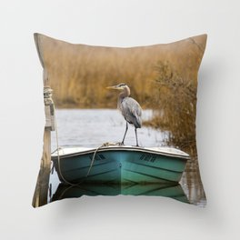 Great Blue Heron on Fishing Boat Throw Pillow