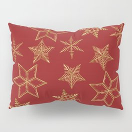 Snowflakes Red And Gold Pillow Sham