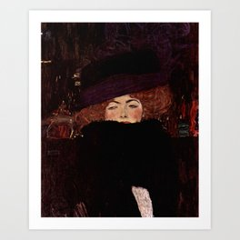 """Gustav Klimt """"Lady with Hat and Feather Boa"""" Art Print"""