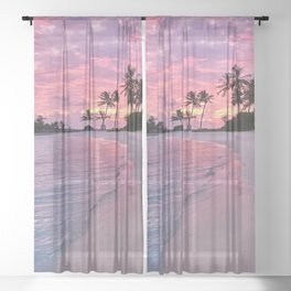SUNSET AND PALM TREES Sheer Curtain
