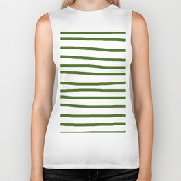 Simply Drawn Stripes in Jungle Green Biker Tank