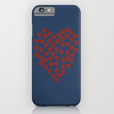 Hearts Heart Red on Navy Tex iPhone 6s Slim Case