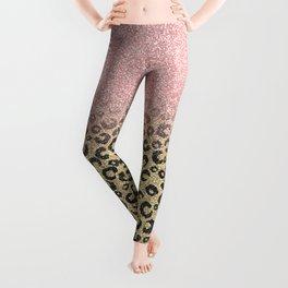 Elegant Rose Gold Glitter Black Leopard Print Leggings