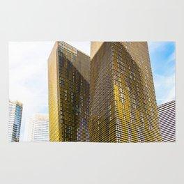 twin yellow buildings at Las Vegas, USA Rug