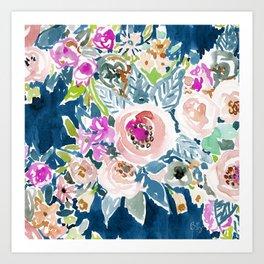 NAVY SO LUSCIOUS Colorful Watercolor Floral Kunstdrucke