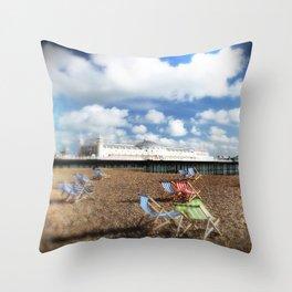 Brighton Sea Front, England Throw Pillow