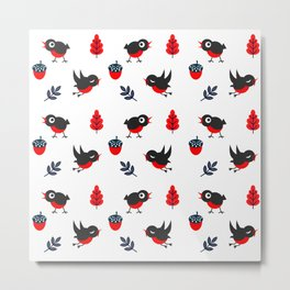 Bullfinch Pattern Metal Print
