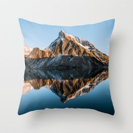 Calm Mountain Lake at Sunset - Landscape Photography Throw Pillow