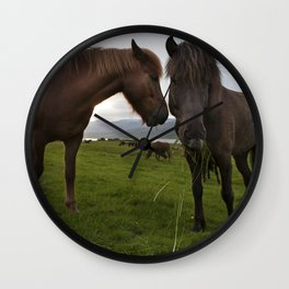 Icelandic horses in icelandic nature Wall Clock