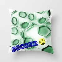 brasil Throw Pillows featuring Soccer Brasil by LoRo  Art & Pictures