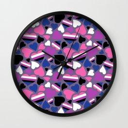 GenderFluid Pride Hearts Wall Clock