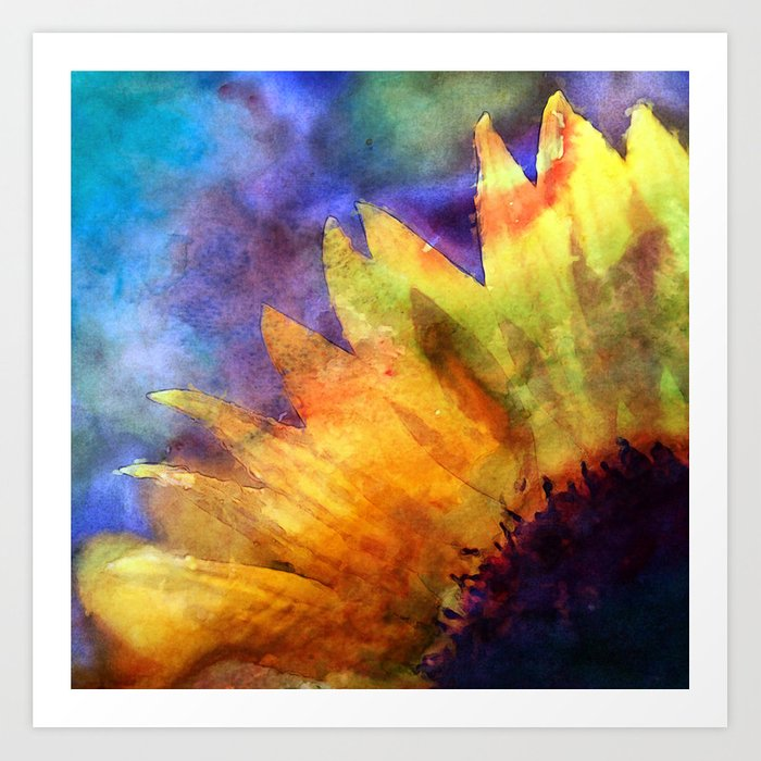 Sunflower Flower Floral on colorful watercolor texture Art Print