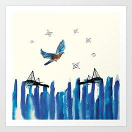 Flying among stars Art Print
