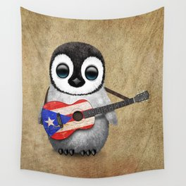 Baby Penguin Playing Puerto Rican Flag Guitar Wall Tapestry