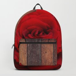 Red Rose & Wooden Background Backpack