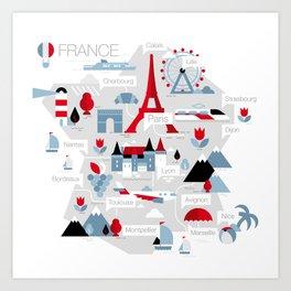 France Map Art Print