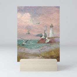 Lighthouse and Terns Mini Art Print