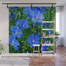 Dainty Blue Flax Linum Flowers Wall Mural