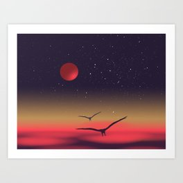 Red moon eagles Art Print