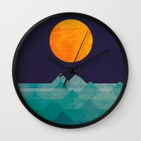 night Wall Clocks featuring The ocean, the sea, the wave - night scene by Picomodi