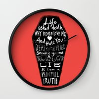 zappa Wall Clocks featuring Life asked death... by Picomodi
