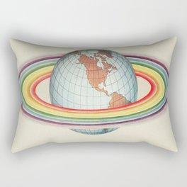 Psycho-harmonial philosophy - Peter Pearson - 1910  Rainbow Saturn Rings Around Earth Rectangular Pillow