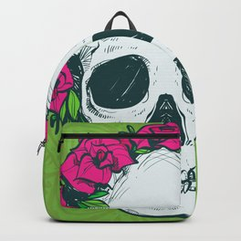 Hippie Flowers in my Hair Rosy Dios De Los Muertos Sugar Skull Backpack