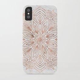 Mandala Rose Gold Quartz on Marble iPhone Case