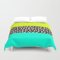 the national Duvet Covers featuring Leopard National Flag XI by M Studio