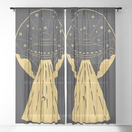 Retro design of flying ufo ship and human silhouette Sheer Curtain