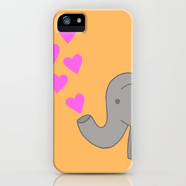 Orange Love Elephant iPhone Case