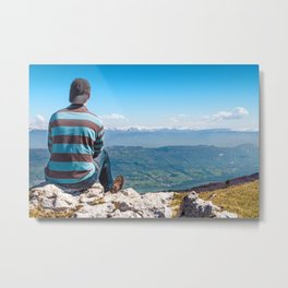 Rear view men looking at Alps mountain view after hiking Metal Print
