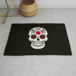 Sugar Skull with Roses and Flag of Japan Rug