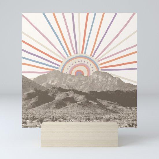 Bohemian Tribal Sun / Abstract Vintage Mountain Happy Summer Vibes Retro Colorful Pastel Sky Artwork by palmtreeprints