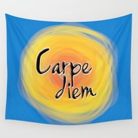 carpe diem Wall Tapestries featuring Carpe Diem by xDiNKix