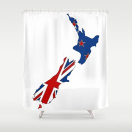 New Zealand Map with Kiwi Flag Shower Curtain