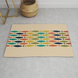 Midcentury Modern Multicolor Fish Stripe Pattern in Olive, Mustard, Orange, Teal, Beige Rug