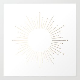 Simply Sunburst in White Gold Sands on White Art Print