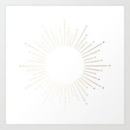 Simply Sunburst in White Gold Sands on White Art Print