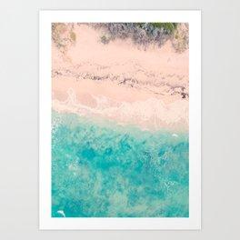 Aerial sea photography, exotic beach, fine art, wanderlust, coral reef, tropical landscape, summer Art Print