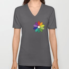 Flower pattern based on James Ward's Chromatic Circle (enhanced) Unisex V-Neck