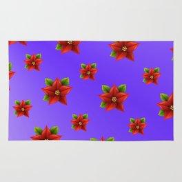 Red Flowers Pattern 3 Rug