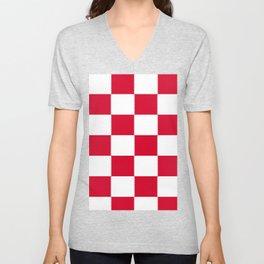 Red and white zig zag checkered artwork Unisex V-Neck