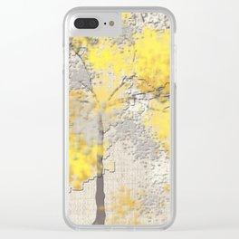 Abstract Yellow and Gray Trees Clear iPhone Case