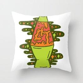 Lit Lava Lamp in Orange Throw Pillow