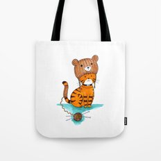 Knitted Bear Hat. Tote Bag