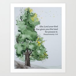 Watercolor painting of Oak tree with Bible verse Art Print