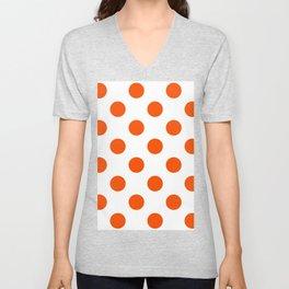 Large Polka Dots - Dark Orange on White Unisex V-Neck